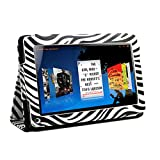 "KIQ (TM) Zebra Design Portfolio Leather Case Cover for Amazon Kindle Fire 7"" ONLY built-in Stand + Screen Protector (Will NOT work with Kindle Fire HD!!!)"