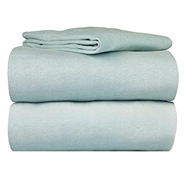 100% Cotton Super Soft Luxury Jersey Sheet 4 Pc Bed Sheet Set (Queen, Sage)