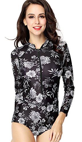 HOLYSNOW Women UV Protection Zip Front Long Sleeve Rash Guard,Black,XS(US 0-2)