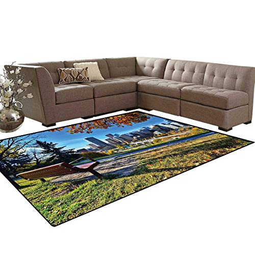City Door Mats Area Rug Park Bench Overlooking The Skyline of Calgary Alberta During Autumn Tranquil Urban Anti-Skid Area Rugs 6'x9' Multicolor