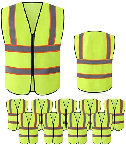 Tekware Reflective Safety Vest for Men and Women , for running or cycling (Pack of 10 Bright Neon Color Construction Protector with Zipper) (XXX-Large, 10 PC)