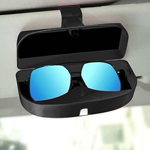 Switty occhiali supporto per aletta parasole da auto, supporto universale auto occhiali da sole custodia scatola occhiali box con carta per parasole (nero)