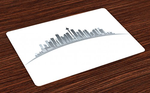Lunarable Seattle Place Mats Set of 4, Silhouette of Washington City Tourist Attraction Space Needle in The Middle, Washable Fabric Placemats for Dining Room Kitchen Table Decor, Grey and Pale Grey
