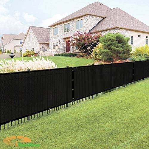 E K Sunrise 6 x 3 Black Fence Privacy Screen, Commercial Outdoor Backyard Shade Windscreen Mesh Fabric 3 Years Warranty Customized Set of 1