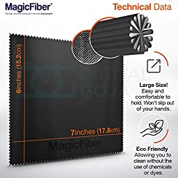 (6 Pack) MagicFiber Microfiber Cleaning Cloths - For All LCD Screens, Tablets, Lenses, and Other Delicate Surfaces (5 Black and 1 Grey 6x7\