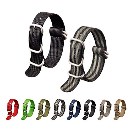 Ritche 2pc 18mm Watch Band with 1.5mm Thickness Quality Nylon Nato Straps and Heavy Duty Brushed Buckle (Black/Black,grey)