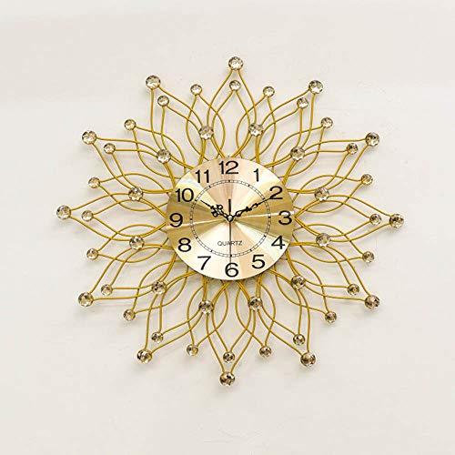 PYXM Simple Wall Clock, Decorative Clock Living Room and Creative Crystal Clock European Style Silent Quartz Glass Mirror Hanging Watch,Gold
