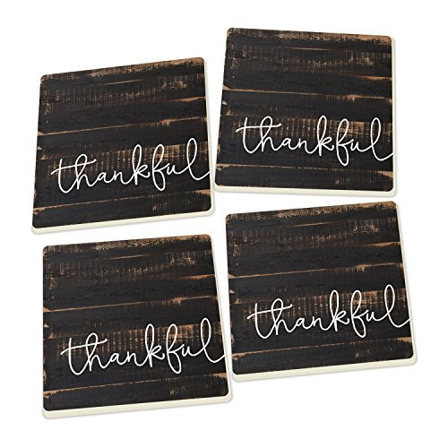 Inspirational Coasters - Thankful Script Design Distressed Black Wood Look Set of 4 Ceramic Coaster Pack