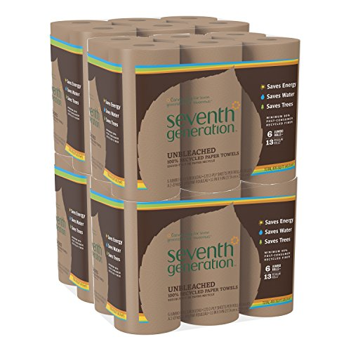 Seventh Generation Unbleached Paper Towels, 100% Recycled Paper, 6 Count (Pack of (Seventh Generation Recycled Napkins)