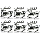 DII Napkin Rings for Dinners, Parties, Everyday, for Dinners, Parties, Everyday, Set of 6, Silver Stag