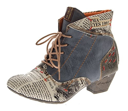 Damen Knöchel Schuhe echt Leder Stiefeletten Muster variieren Comfort Stiefel TMA 7616 Boots 36 - 42 Schwarz-Grau