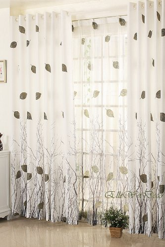 Elleweideco Modern Autumn Leaf Tree Branch Sheer Window