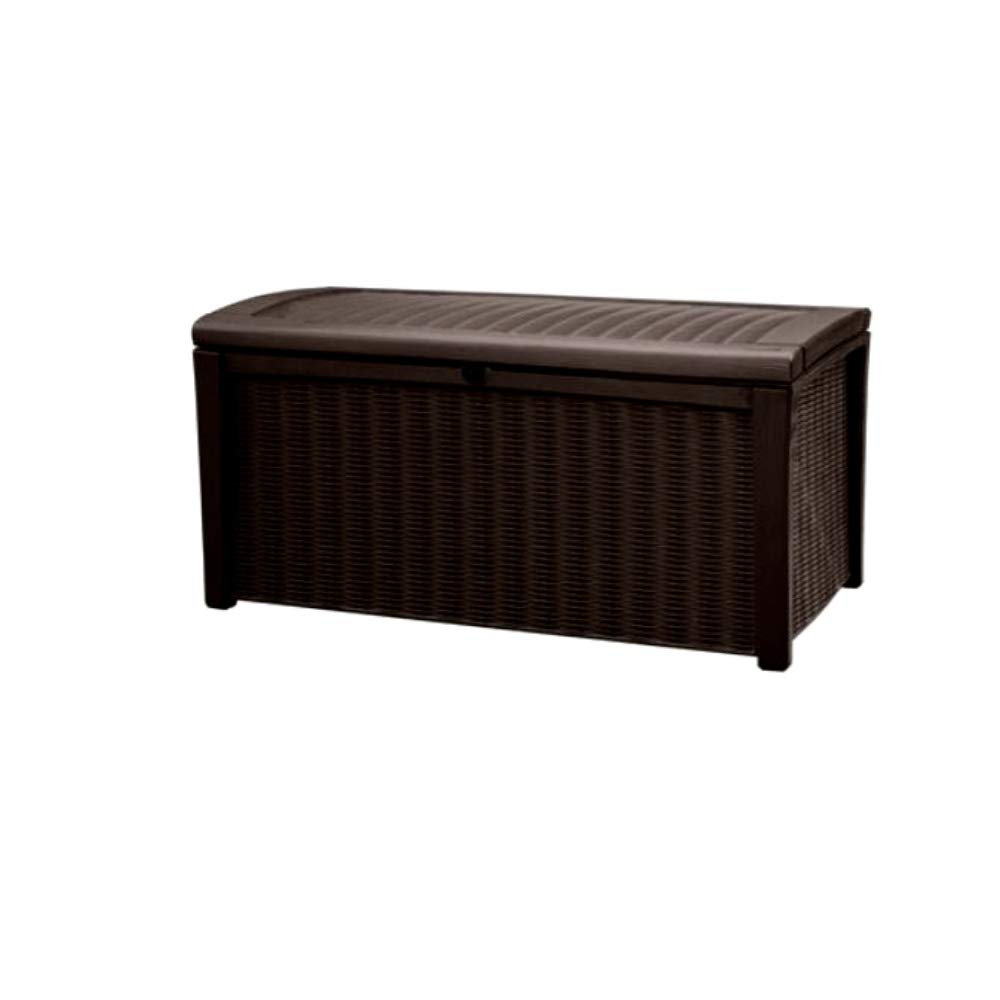 4ft Storage Bench 110 Gall Patio Resin Auto Lid Brown Seat Box All Weather Pool Deck Towels Cushion Toys Hose Organizer Decorative & eBook by JEFSHOP