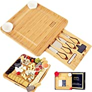 Cheese Board and Cutlery Set (Top Quality Elegant Packaging) Unique Bamboo Charcuterie Platter and Serving Tra