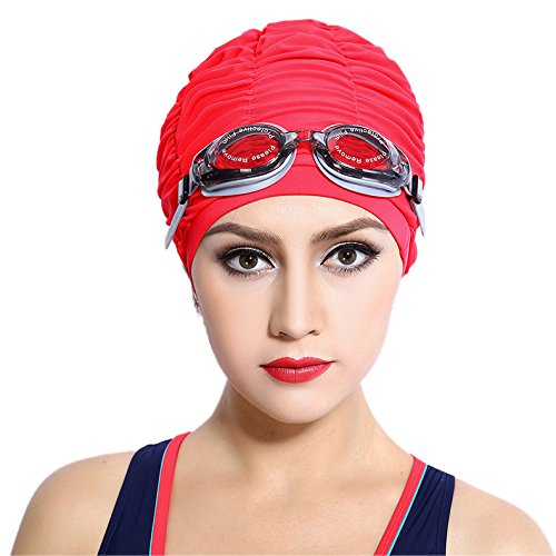 Topwigy Womens Long Hair Swimming Cap Ear Wrap Waterproof Hat (Places That Sell Halloween Costumes)