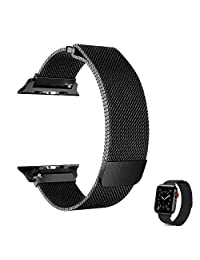 EFFE Correa para Apple Watch 42mm 44mm, Milanese Loop Acero Inoxidable de reemplazo de Metal iWatch Band para Apple Watch Series 4, 3, 2, 1, Deporte, edición, Negro