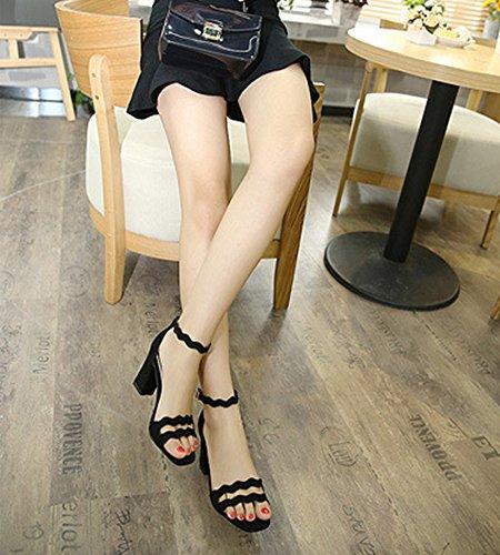 Mujere Zapatos de Tacó Sandalias Verano Correa de Tobillo Elegantes y Acogedor Sandalias de Estilo Square Toe Gruesos para Bodas Fiestas y Partido Negro
