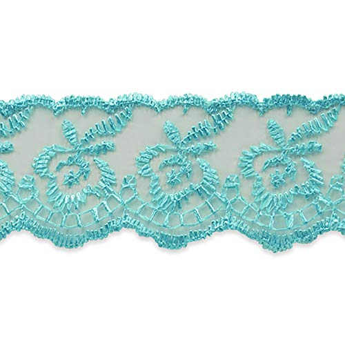 Fabiana Fancy Flower Embroidered Lace Trim Turquoise