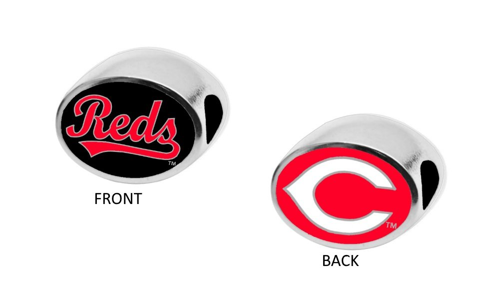 Cincinnati Reds 2-Sided Bead Fits Most Bracelet Lines Including Pandora, Chamilia, Troll, Biagi, Zable, Kera, Personality, Reflections, Silverado and More Charm Bead Fits Pandora Style Bracelets