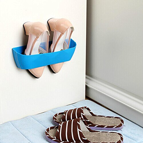 Price comparison product image Staron Hanging Shoe Slots Organizer Wall Mounted Space Saver Shoes Rack Holder,  Home Space-Saving Storage Organizer Shoes Display Storage Shelf Bathroom Shoe Rack (A)