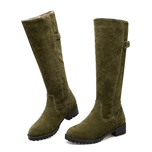 On Solid Imitated High Pull Low Boots Armygreen Women's Allhqfashion Suede Top Heels qO0w5X
