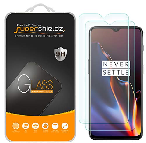 [2-Pack] Supershieldz for OnePlus 6T Tempered Glass Screen Protector, Anti-Scratch, Bubble Free, Lifetime Replacement