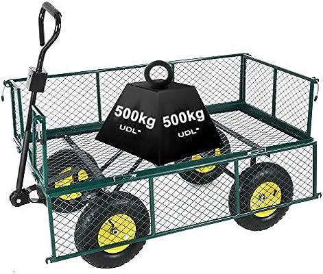 Heavy Duty Garden Trolley Cart 4 Wheel barrow Quad Trailer Extra Large 500kg
