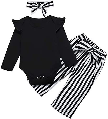 Toddler Baby Girl Clothes Ruffle Long Sleeve top Striped Long Pants Headband 3Pcs Baby Winter Clothes Set