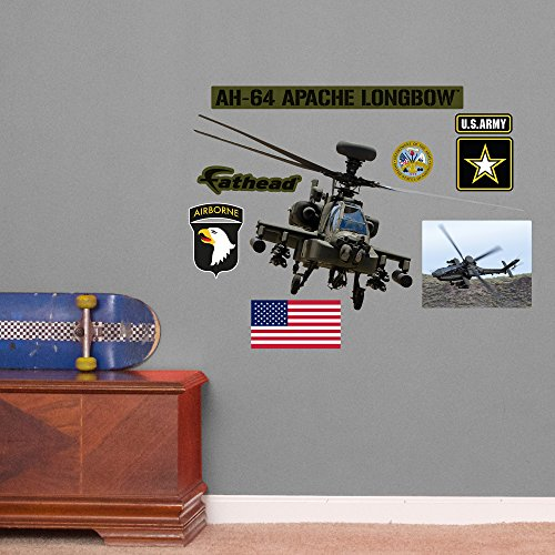 Fathead AH-64 Apache Longbow Helicopter Junior Peel and Stick Wall Decals (Apache Ah 64 Longbow)