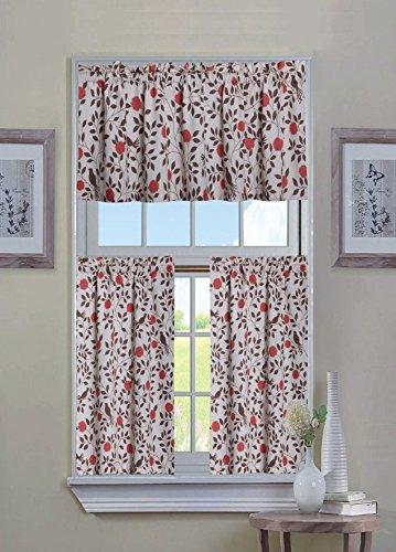 GoodGram Luxurious Shabby Cotton Blend Flowers & Birds 3 Pc. Kitchen Curtain Tier & Valance Set by