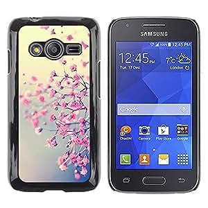 Be Good Phone Accessory // Dura Cáscara cubierta Protectora Caso Carcasa Funda de Protección para Samsung Galaxy Ace 4 G313 SM-G313F // Spring Flowers Sun Blur Teal Yellow Warm