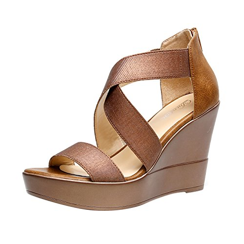 - DUNION Women's AWE Zip Closure Crisscross Straps Platform Wedge Sandal Wedding Party Dress Shoe,Bronze Awe,9.5 M US