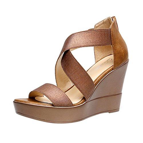 DUNION Women's AWE Zip Closure Crisscross Straps Platform Wedge Sandal Wedding Party Dress Shoe,Bronze Awe,9.5 M US ()