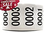 """Enzo Consecutively Numbered Sticker Labels 1.5 x 0.75"""" Water Proof Oil Resistance from Serial Number 1 to 1000 1.7"""" Core Roll"""