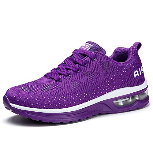 (Womens Fashion Lightweight Air Sports Walking Sneakers Breathable Gym Jogging Running Tennis Shoes 9 Purple)