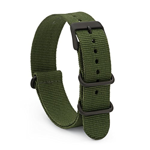 (Speidel NATO Watch Band 20mm Green Woven Military Style Nylon Strap with Heavy Duty Stainless Steel Keepers and Buckle)