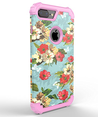 iPhone 7 Plus Case,TOOLA Three Layer Hybrid Sturdy Armor High Impact Resistant Protective Cover Case For iPhone 7 Plus,Orchid Flower/Pink