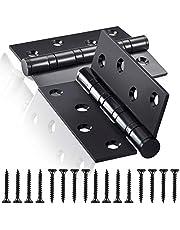 Roestvrijstalen deurscharnier, 4 inch kogellager houten deurscharnieren 100 mm stompe scharnieren 2 stuks scharnieren Opvouwbare stompscharnieren (Black)