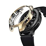SIRUIBO Case for Samsung Gear S3 Frontier SM-R760, TPU Scractch-Resist Frame Protective Cover Shell for Samsung Gear S3 Frontier/Classic Galaxy Watch 46mm SM-R800 Smartwatch, Gold