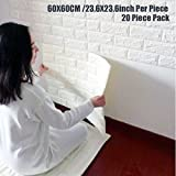Wallpaper Brick Panel, White 3D Brick Panel Tile Peel And Stick Foam Wall Decor Acoustic Tiles 20 PACK