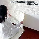 Wallpaper Brick Panel, White 3D Brick Panel Tile Peel And Stick Foam Wall Decor Acoustic Tiles 20 PACK