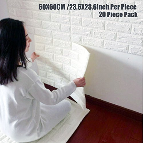 Acoustic Wall Tiles (Wallpaper Brick Panel, White 3D Brick Panel Tile Peel And Stick Foam Wall Decor Acoustic Tiles 20 PACK)