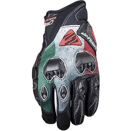 Five Stunt Evo Replica Italia Textile Adult Street Motorcycle Gloves - Red White Green/X-Large