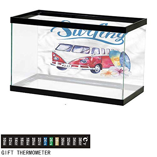 Suchashome Fish Tank Backdrop Surfboard,Watercolor Vintage Van,Aquarium Background,48