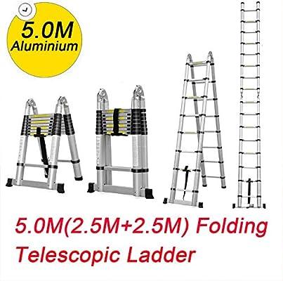 Escalera telescópica de aleación de aluminio plegable extensible EN131 (capacidad de carga de 150 kg) con bloqueo para uso diario o de emergencia en el hogar industrial: Amazon.es: Bricolaje y herramientas