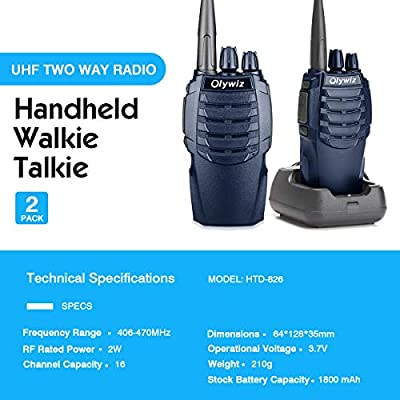 Olywiz Walkie Talkies Two-Way Radios Rechargeable Long Range Up to 6 Miles 16CH UHF406-470Mhz 1800mAH Battery(Ultra-Long Standby) Loud&Clear 2 Way Radio 2Pack(Nave Blue,HTD826): Car Electronics