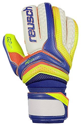 Reusch Soccer Serathor Pro G2 Goalkeeper Gloves, Yellow/Blue, 10 (G2 Goalkeeper Gloves)