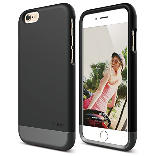 elago iPhone 6 Case, [Glide Limited-Edition][Black/Metallic Dark Grey] - [Mix and Match][Premium Armor][True Fit] - for iPhone 6 Only