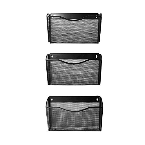 YIMU Mesh Collection Letter-size Pocket Holder Metal Wall Mount File Organizer for Home Office - 3 Pack - Black