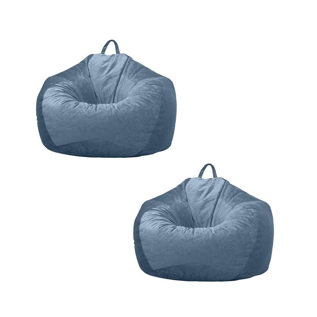 Fenteer 2 Blue_3 Kids Soft Plush Toy Organizer Velvet Lazy Beanbag Cover Children Chair Fill with Anything Soft 60x70cm